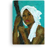 Black Lady with White Head-dress Canvas Print