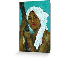 Black Lady with White Head-dress Greeting Card