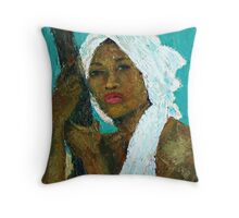 Black Lady with White Head-dress Throw Pillow