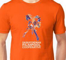 Saskatchewan Filmpool Cooperative large colourful logo - white Unisex T-Shirt