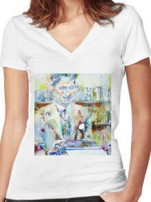 GEORGE ORWELL - watercolor portrait Women's Fitted V-Neck T-Shirt
