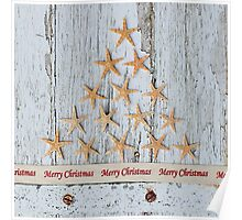 Merry Christmas Starfish Tree Poster
