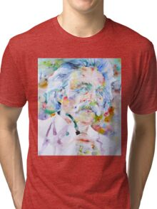 MARK TWAIN - watercolor portrait Tri-blend T-Shirt