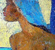 Black Lady with Blue Head-dress by Jann Ashworth