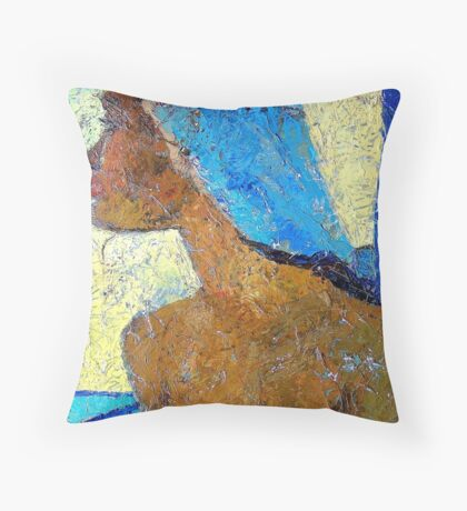 Black Lady with Blue Head-dress Throw Pillow