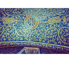 Chi Rho alpha omega on roof Tomb of Gallia Placida Ravenna Italy 198404140058 Photographic Print