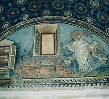 Side wall of griddle for a saint Tomb of Gallia Placida Ravenna Italy 198404140060 by Fred Mitchell