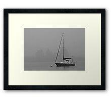 Sailboat and Fog Framed Print