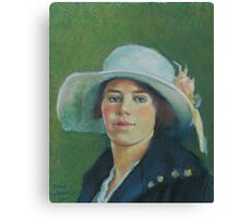 Grandmother in pastels Canvas Print
