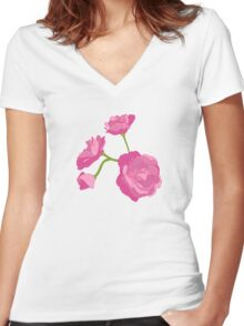 Pink Camelia Women's Fitted V-Neck T-Shirt