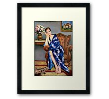 portrait of a woman with a cat Framed Print