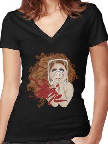 Piggy Swine Women's Fitted V-Neck T-Shirt
