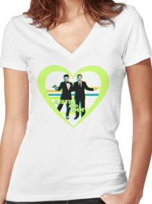 Justin and Jimmy Women's Fitted V-Neck T-Shirt
