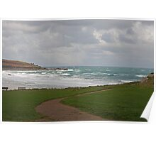 Rough seas at St Ives in Cornwall Poster