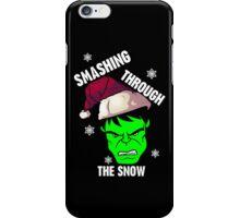 Smashing Through The Snow!(green and white) iPhone Case/Skin