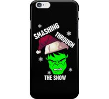 Smashing Through The Snow!(green and white) iPhone Case/Skin