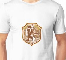 Hiker Hiking Mountain Shield Woodcut Retro Unisex T-Shirt