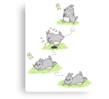 Totoro Chases a Butterfly! [Apparel & Transparent Stickers] Canvas Print