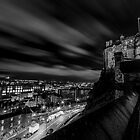 Edinburgh castle at night Black & White. by Graeme  Ross