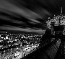 Edinburgh castle at night Black & White. by Graeme  Ross
