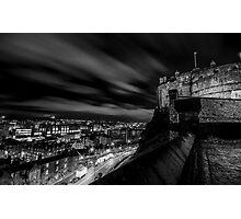 Edinburgh castle at night Black & White. Photographic Print