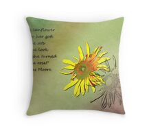 Sunflower with quote Throw Pillow
