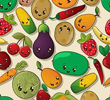 Seamless kawaii pattern by Richard Laschon