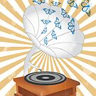 Retro music player with butterflies by schtroumpf2510