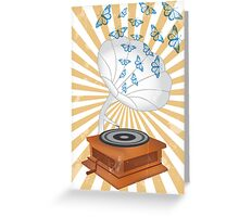 Retro music player with butterflies Greeting Card