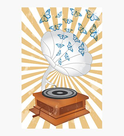 Retro music player with butterflies Photographic Print