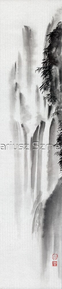 Mountain winter landscape waterfall water lake forest pine cold winter clouds by Mariusz Szmerdt