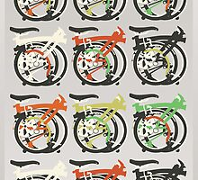 Folded Brompton Bicycle by Andy Scullion