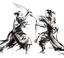 Samurai sword bushido katana martial arts budo sumi-e original ink sword painting artwork by Mariusz Szmerdt