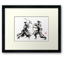 Samurai sword bushido katana martial arts budo sumi-e original ink sword painting artwork Framed Print