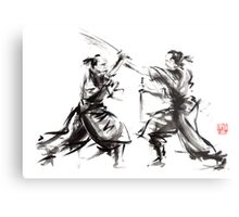 Samurai sword bushido katana martial arts budo sumi-e original ink sword painting artwork Metal Print