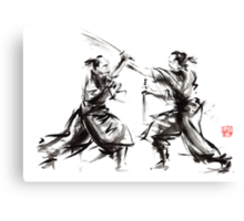 Samurai sword bushido katana martial arts budo sumi-e original ink sword painting artwork Canvas Print