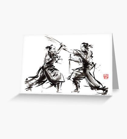 Samurai sword bushido katana martial arts budo sumi-e original ink sword painting artwork Greeting Card