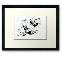 Aikido randori techniques kimono martial arts sumi-e samurai ink painting artwork Framed Print