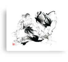 Aikido randori techniques kimono martial arts sumi-e samurai ink painting artwork Canvas Print