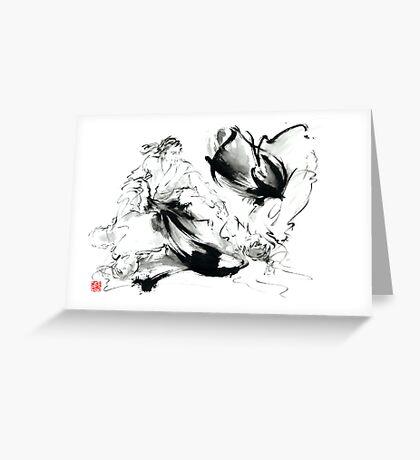 Aikido randori techniques kimono martial arts sumi-e samurai ink painting artwork Greeting Card