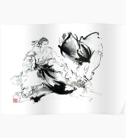 Aikido randori techniques kimono martial arts sumi-e samurai ink painting artwork Poster