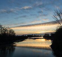 Pale Lemon Sunrise - Calm River Zen by Georgia Mizuleva