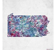 pennsylvania map cold colors Photographic Print