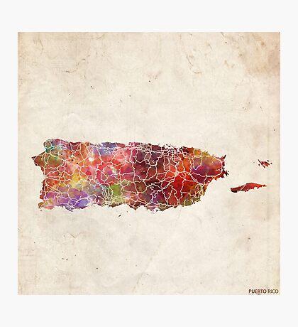 puerto rico map warm colors Photographic Print