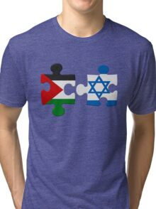 Israel and Palestine Conflict Flag Puzzle Tri-blend T-Shirt