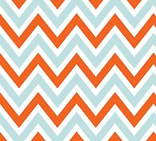 Chevrons, Zigzag Background Blue, Orange by roughcollie5