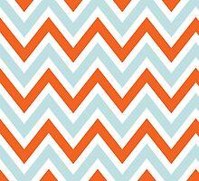 Chevrons, Zigzag Background Blue, Orange by roughcollie5