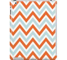 Chevrons, Zigzag Background Blue, Orange iPad Case/Skin