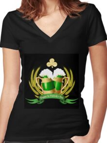 Green beer Women's Fitted V-Neck T-Shirt