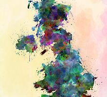 United Kingdom map watercolor style splash by Pablo Romero